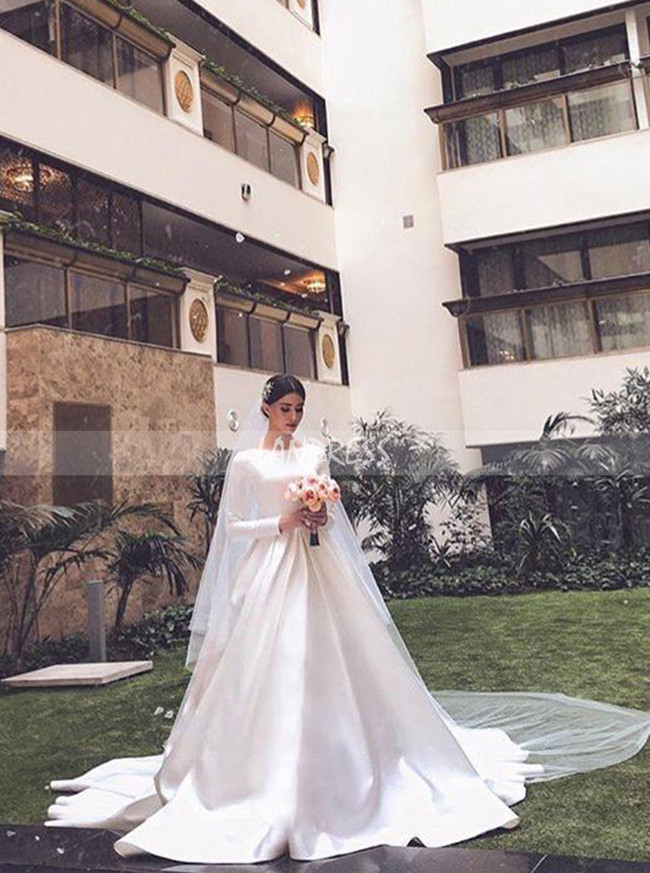 Modest A-line Long Sleeve Satin Bridal Dress,12277