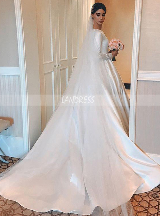 Modest A-line Long Sleeve Satin Bridal Dress,12277