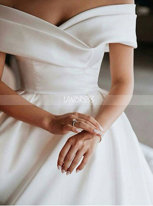 Off the Shoulder Ball Gown Bridal Dress,Satin Classic Wedding Dress,12278