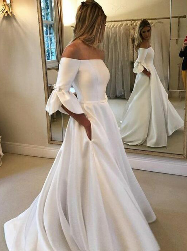 A-line Off the Shoulder Wedding Dress with Pockets,12281
