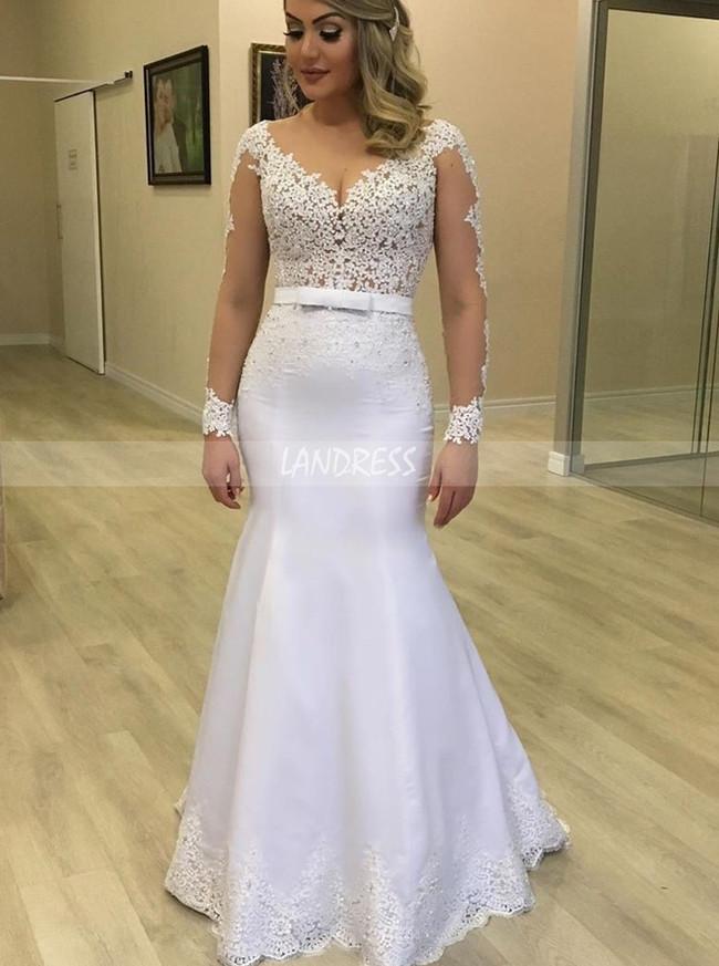 Illusion Long Sleeves Mermaid Fitted Wedding Dress,12283