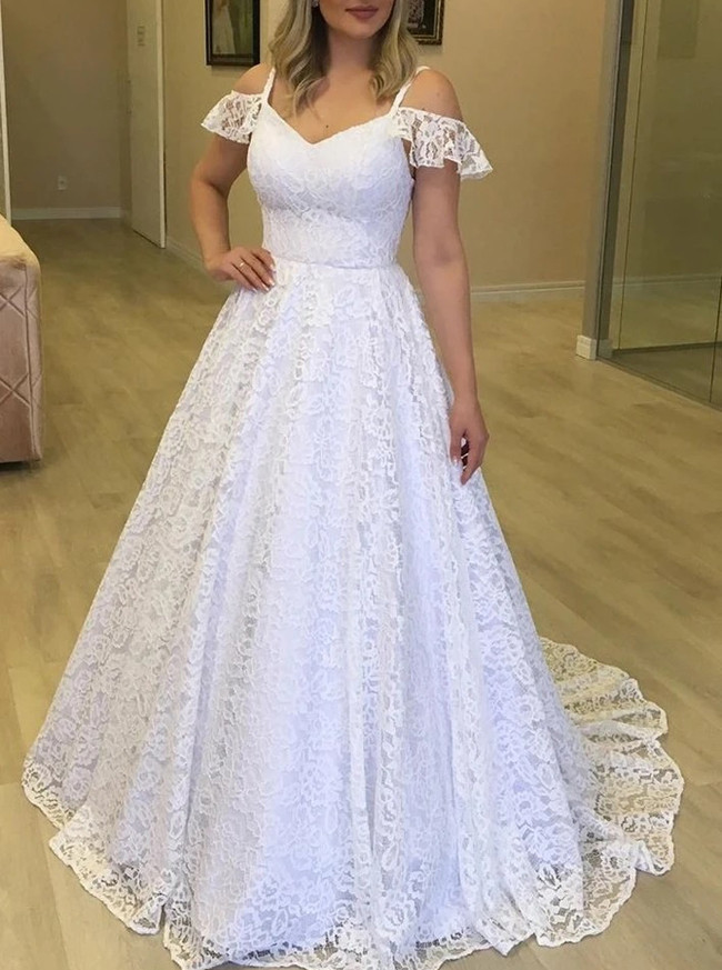 A-line Lace Bridal Dress with Off the Shoulder Sleeves,12286