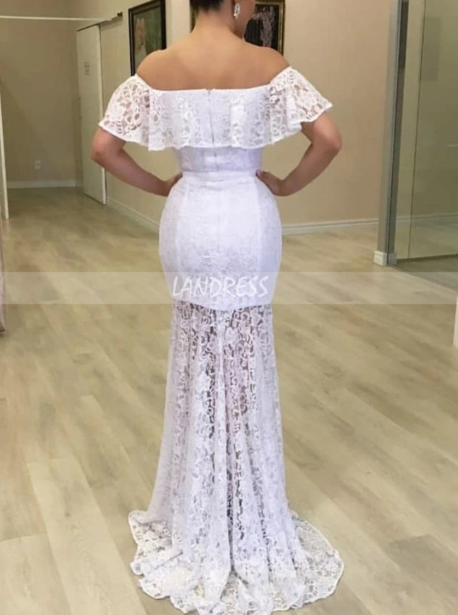 Fitted Lace Long Bridal Dress with See Through Skirt,12287
