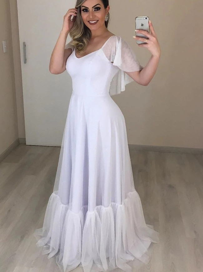 Romantic Tulle Bridal Dress,Beach Wedding Dress with Flounce Sleeves,12288