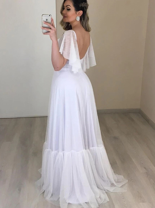 Romantic Tulle Bridal Dress,Beach Wedding Dress with Flounce Sleeves,12288