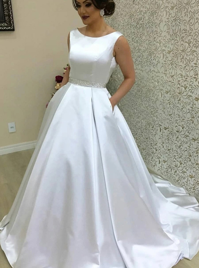 A-line Satin Wedding Dress with Pockets,Fall Bridal Dress Open Back,12294