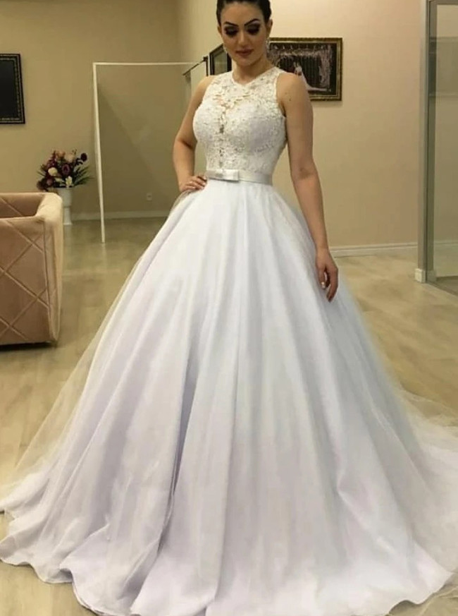 Princess Ball Gown Bridal Dress with Lace Bodice,12295