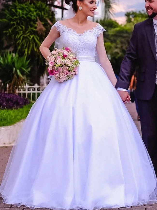 Garden Wedding Dress with Cap Sleeves,12296