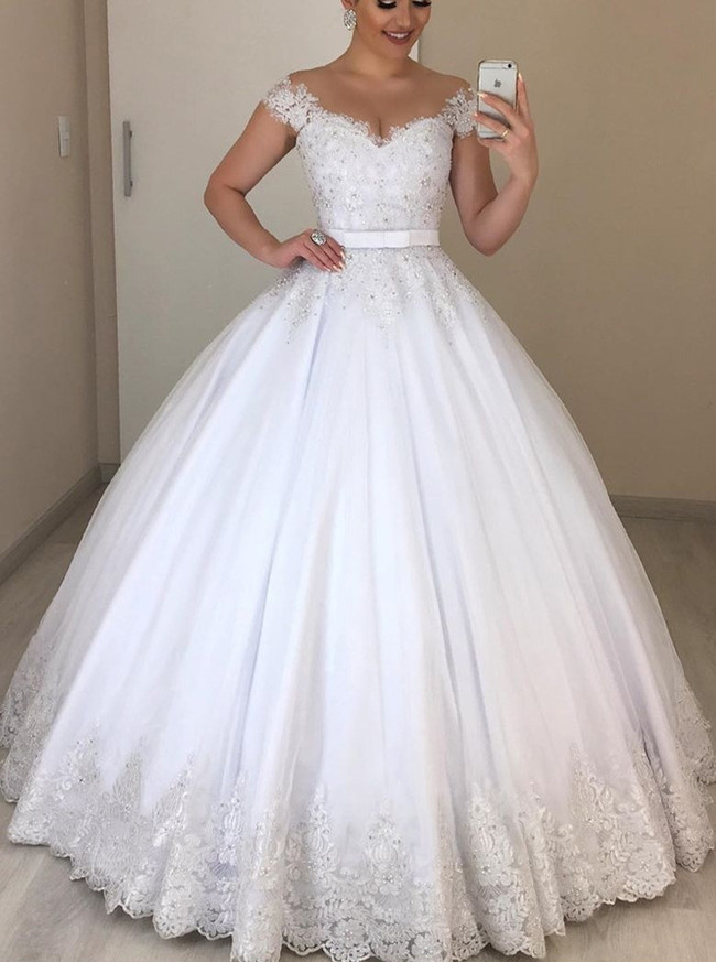 Princess Ball Gown Bridal Dress with Cap Sleeves,12297