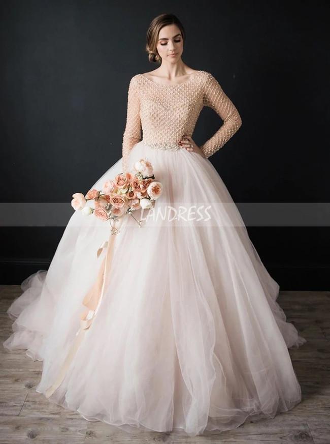 Elegant Ball Gown Bridal Dress, Long Sleeves Organza Tulle Wedding Dress,12299