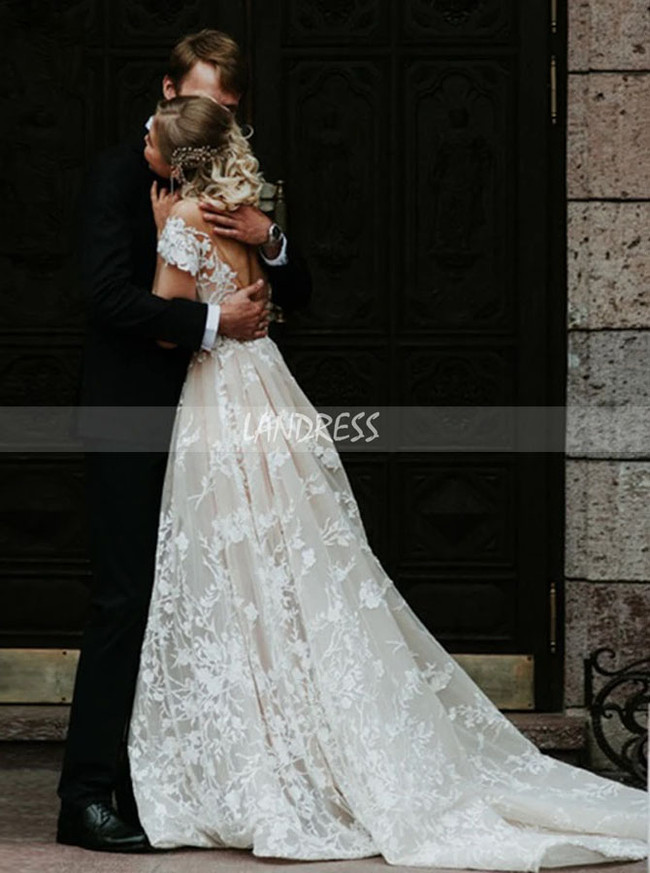 A-line Lace Wedding Dress with Cap Sleeves,Elegant Wedding Dress,12302