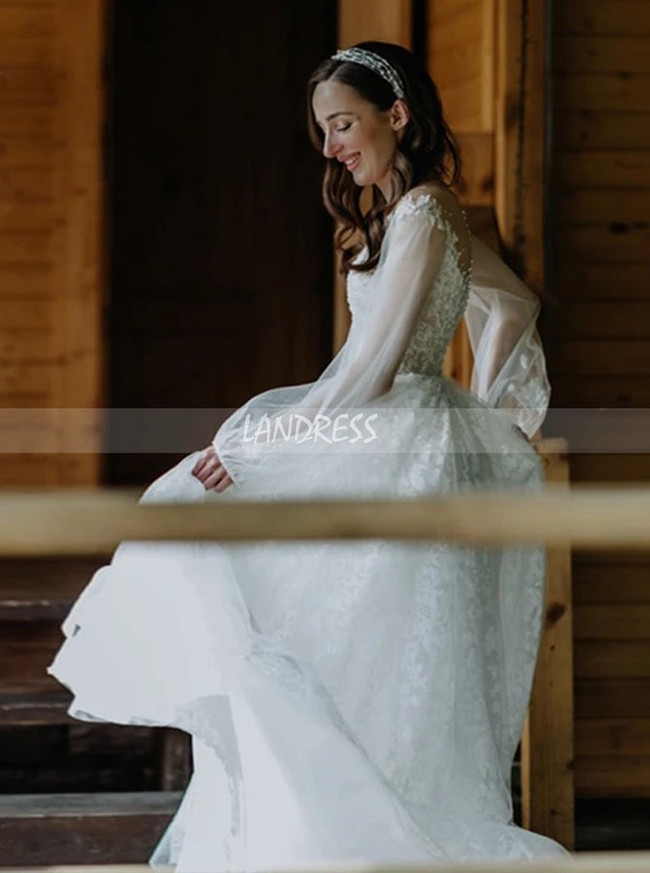 Romantic Tulle and Lace Bridal Gown,Illusion Long Sleeve Bridal Dress,12303
