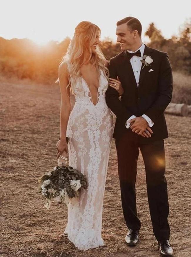 Sheath Wedding Dress Outdoor,Deep V-neck Lace Wedding Dress,12304