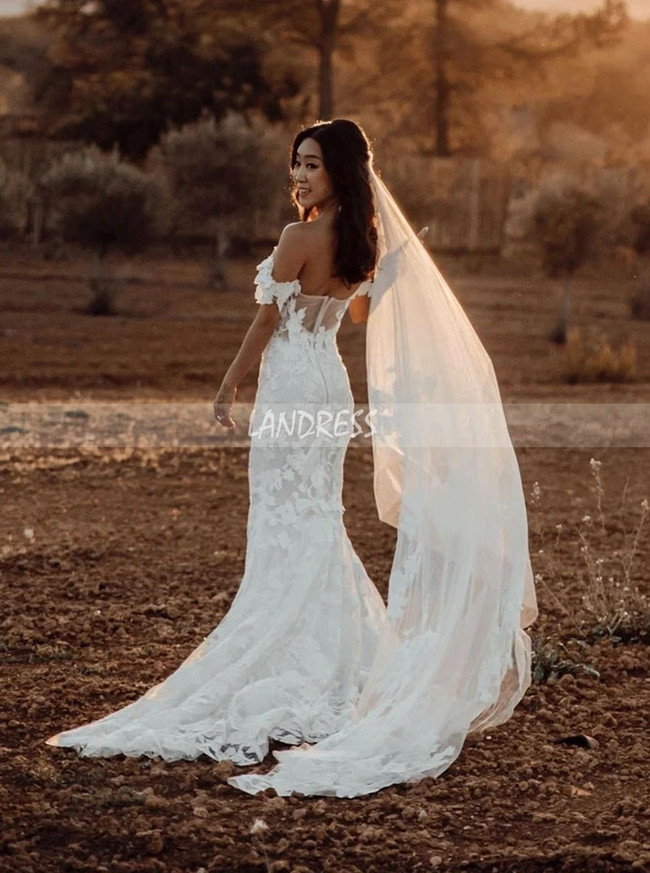 Fit and Flare Off the Shoulder Bridal Gown,12307
