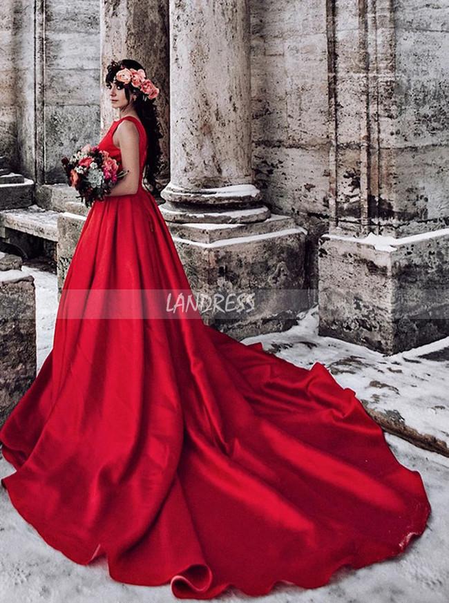 Red Satin Long Train Wedding Dress for Winter Photoshoot,12308