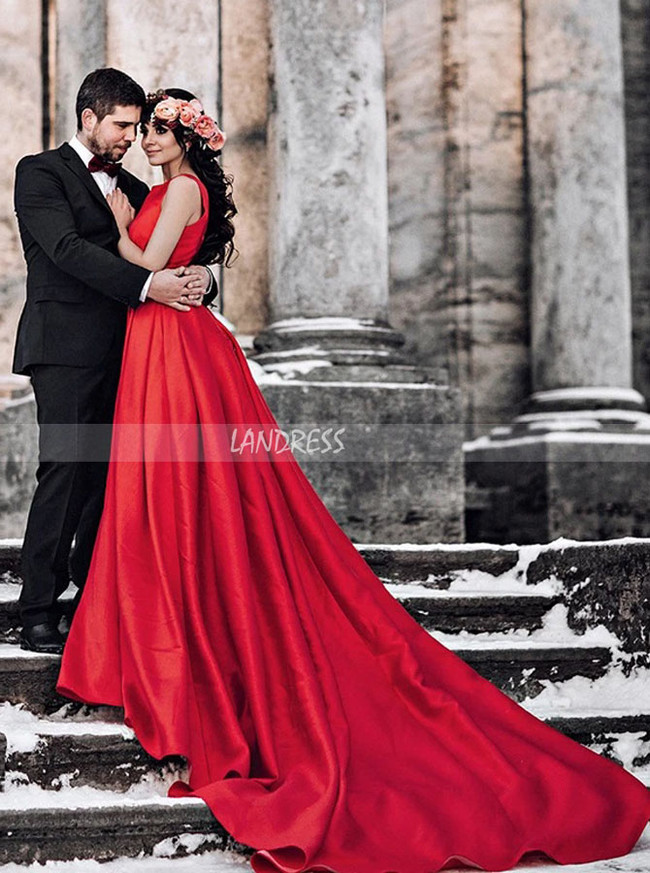Red Satin Long Train Wedding Dress for Winter Photoshoot,12308