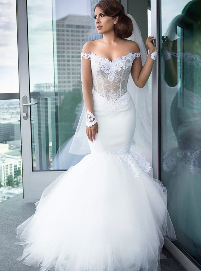 Mermaid Long Train Sheer Sleeves Off the Shoulder Bridal Dress,12309