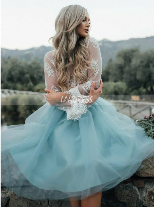 Boho Short Two Piece Bridal Dress,Long Sleeve Wedding Dress,12310