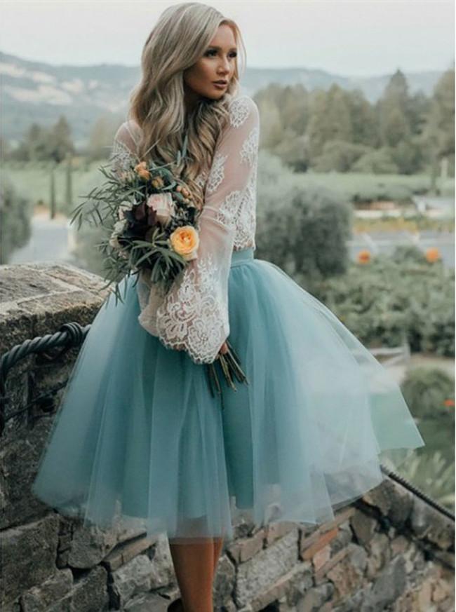 Boho Short Two Piece Bridal Dress,Long Sleeve Wedding Dress,12310