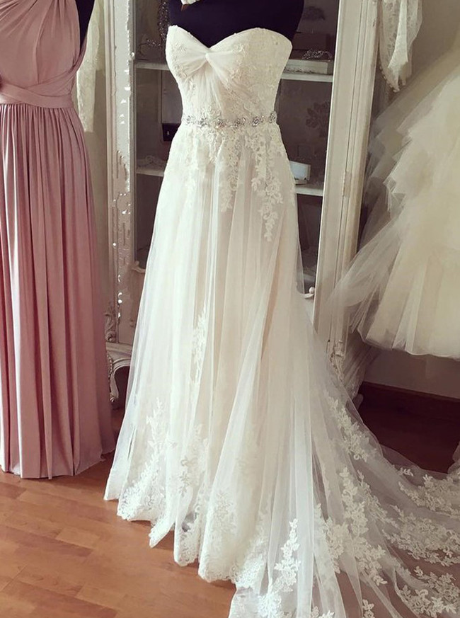 Strapless Wedding Dresses,Lace Beach Bridal Dress,Romantic Wedding Dress,11112