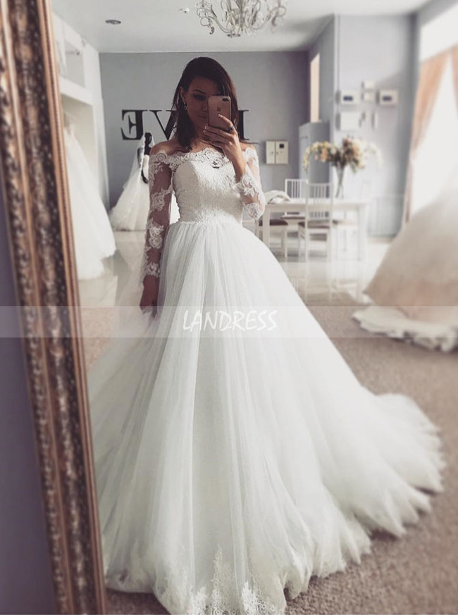 Classic Wedding Dresses,Bridal Gown with Long Sleeves,Corset White Wedding Dress,11114