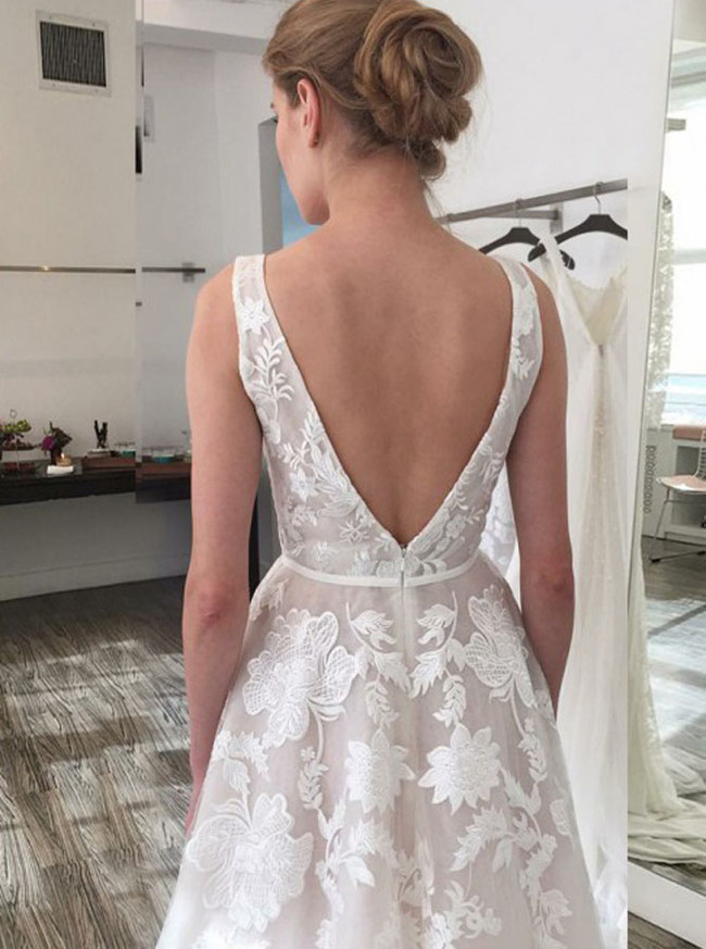 Ivory Wedding Dresses,Lace Bridal Dress,A-line Wedding Dress,11117