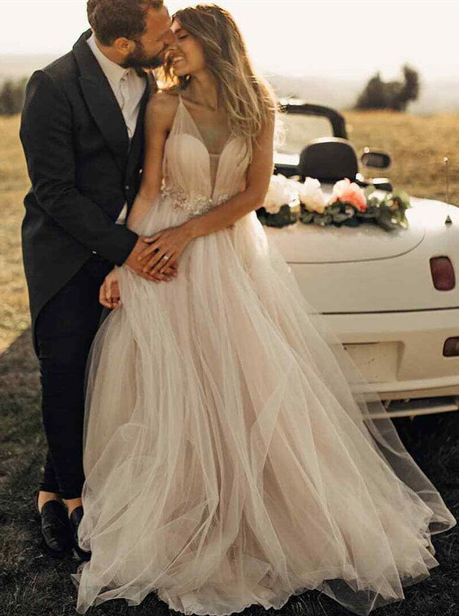Tulle Wedding Dresses,Outdoor Bridal Dress,A-line Wedding Dress,11118