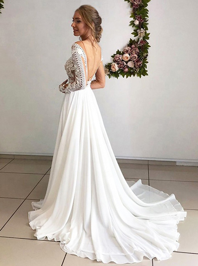 Chiffon Beach Bridal Dress,Long Beach Wedding Dress,Summer Wedding Dress,11119