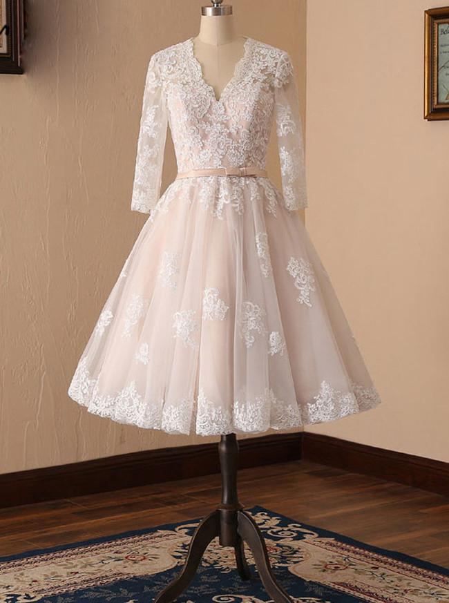 Tea Length Short Wedding Dress,Destination Bridal Dress,Vintage Wedding Dress,11120
