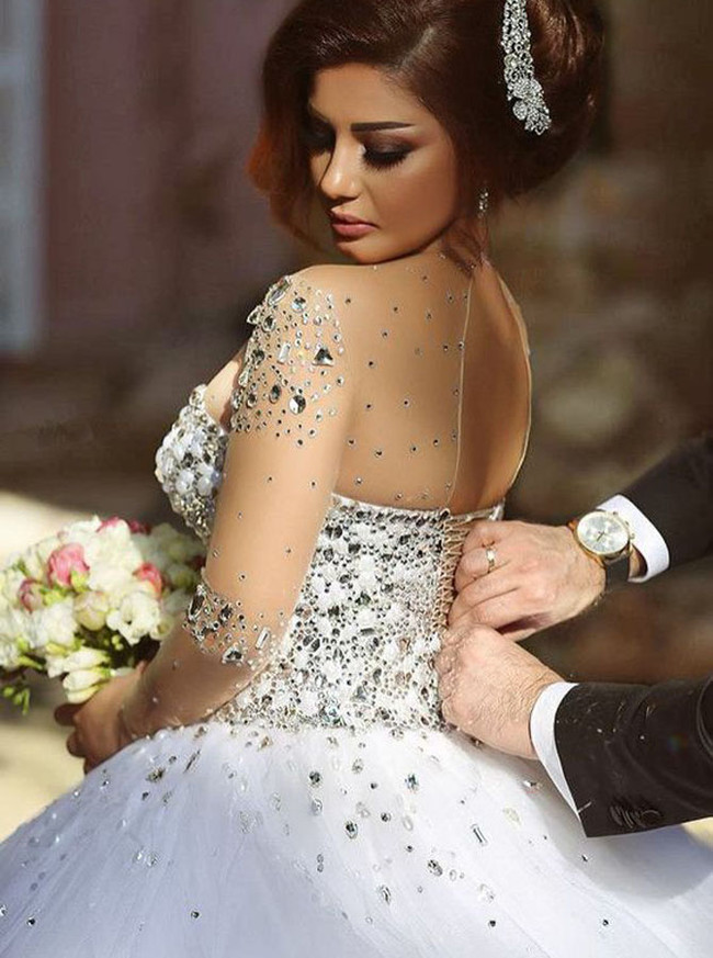 Princess Wedding Gown,Sparkly Bridal Gown,Wedding Gown with Sleeves,11121