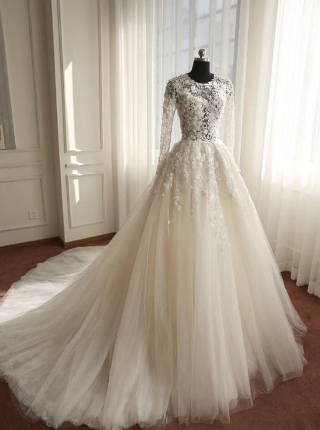 Ivory Princess Floral Wedding Dress