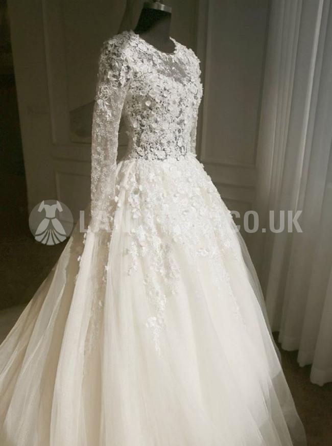 Ivory Princess Floral Wedding Dress,Stunning Wedding Dress with Sleeves,Tulle Bridal Dress,11122