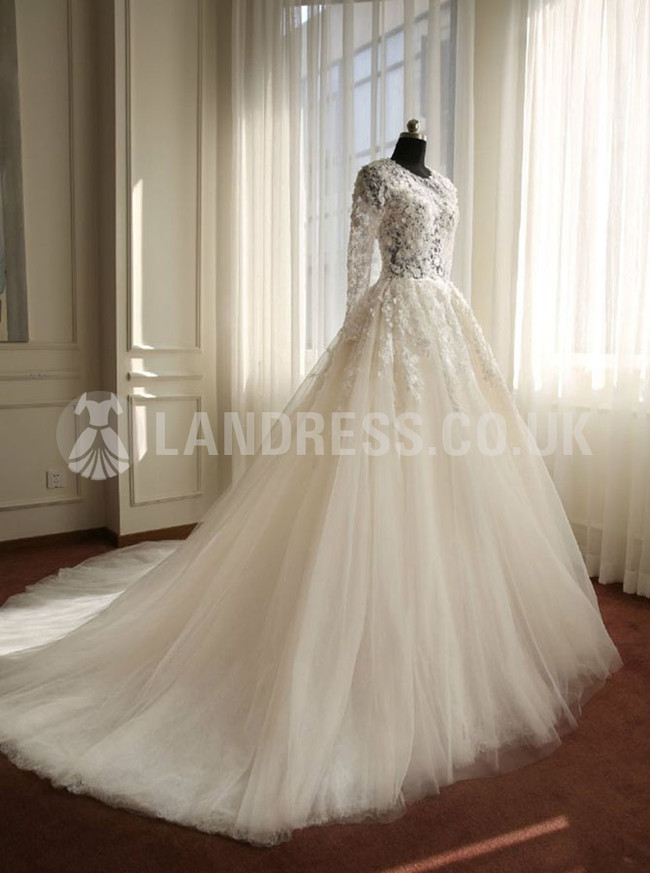 Ivory Princess Floral Wedding Dress,Stunning Wedding Dress with Sleeves,Tulle Bridal Dress,11122