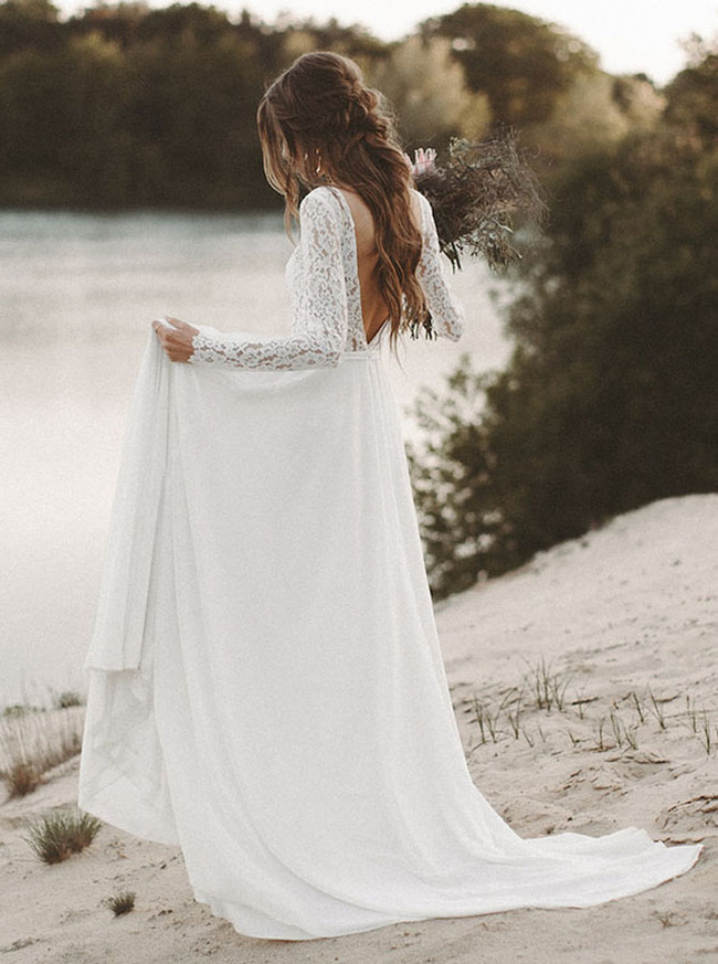 Beach Wedding Dress with Long Sleeves,Summer Bridal Dress,Chiffon Wedding Dress,11124