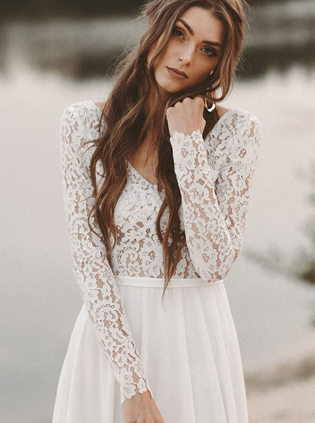 Beach Wedding Dress with Long Sleeves,Summer Bridal Dress,Chiffon Wedding Dress,11124