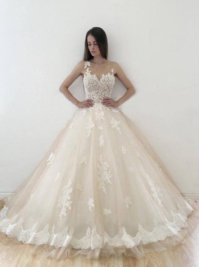 Champagne Wedding Dress,Modest Bridal Dress,Illusion Wedding Dress,11126