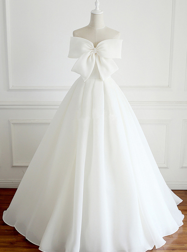 Ivory Wedding Dress with Bow,Full Length Bridal Dress,Simple Wedding Dress,11128