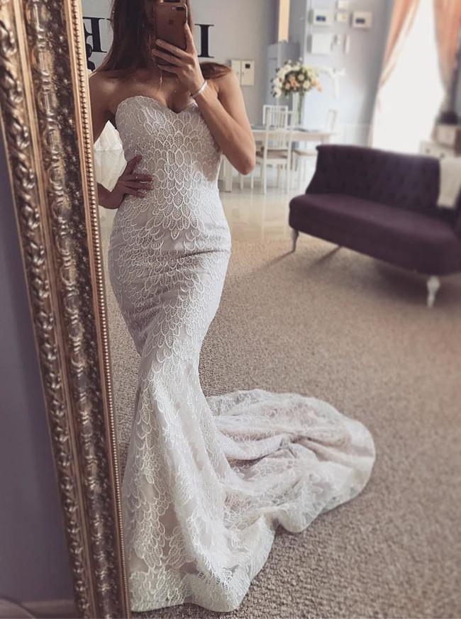 Mermaid Wedding Dress with Nude Lining,Lace Bridal Dress,Elegant Wedding Dress,11130
