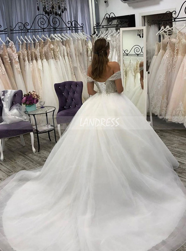 Ivory WeIvory Wedding Dresses,Off the Shoulder Bridal Dress,Princess Wedding Dress,11132