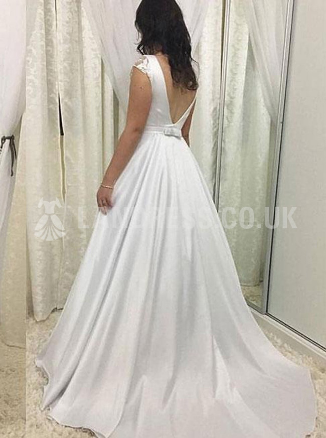 A-line Wedding Dress with Cap Sleeves,Satin Wedding Dress,Simple Bridal Dress,11133