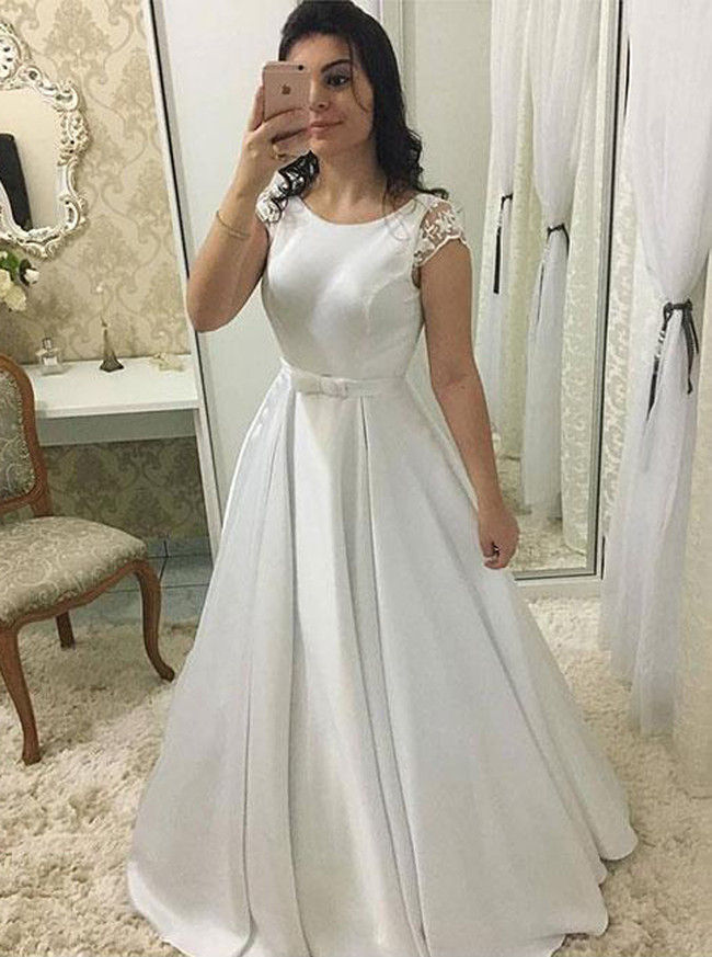 A Line Wedding Dress With Cap Sleeves Satin Wedding Dress Simple Bridal Dress 11133