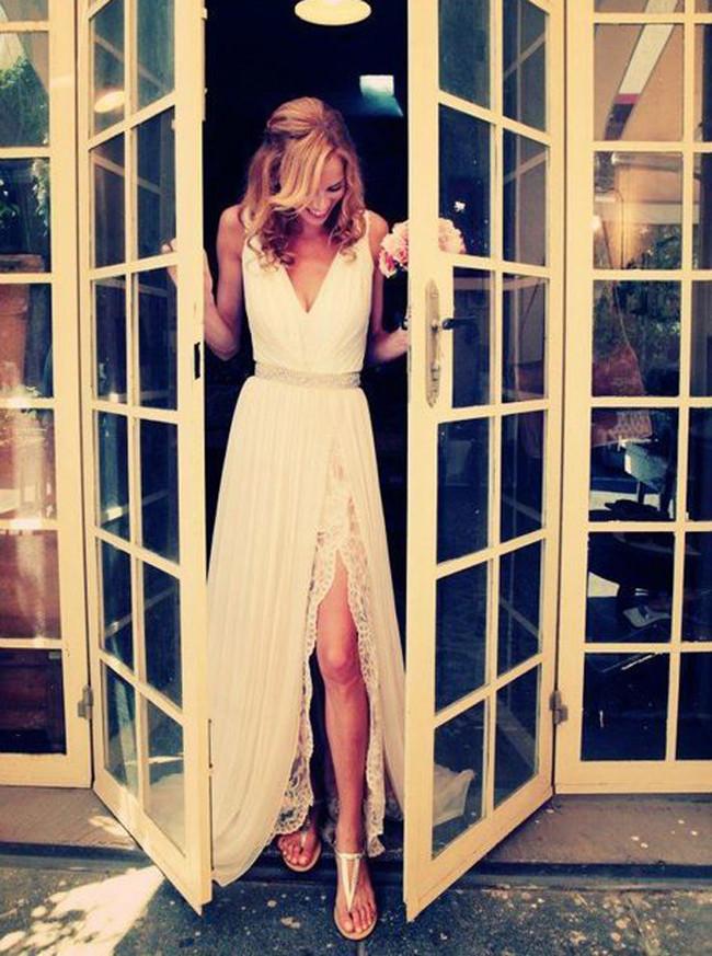 Chiffon Beach Wedding Dress,Casual Bridal Dress with Slit,Romantic Wedding Dress,11135