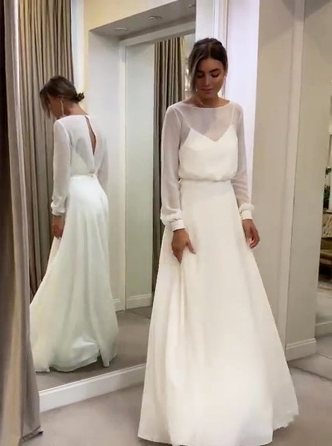 White Chiffon Beach Wedding Dress,Cutout Bridal Dress,Long Wedding Dress,11136