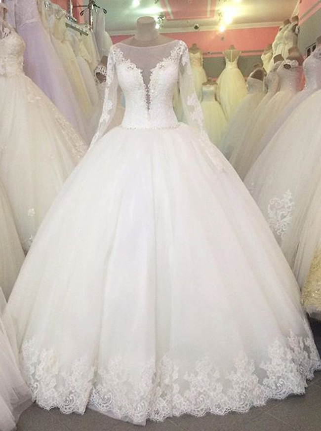 Ball Gown Wedding Dress with Sleeves,Princess Wedding Gown,Chic Bridal Gown,11138