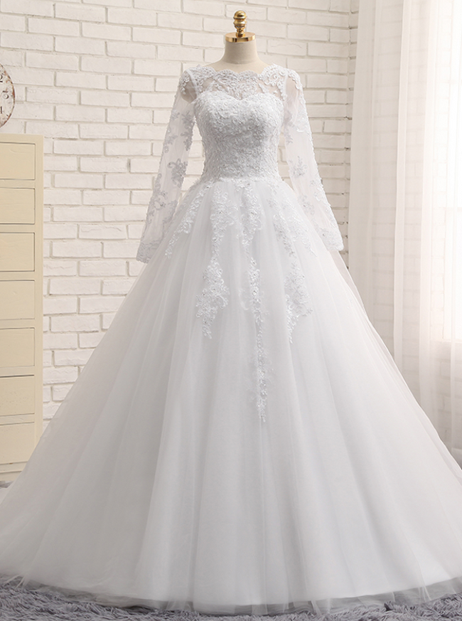 Stylish Wedding Dress with Sleeves,White Bridal Gown,Formal Wedding Dress,11143