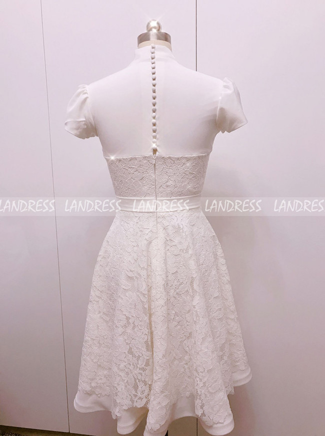 Short Wedding Dress,Satin and Lace Reception Dress,Bridal Dress with Short Sleeves,11144