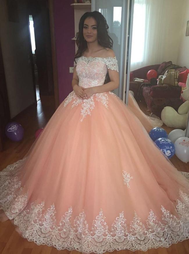 Peach Ball Gown Wedding Dress,Off the Shoulder Wedding Gown,Princess Wedding Gown,11145