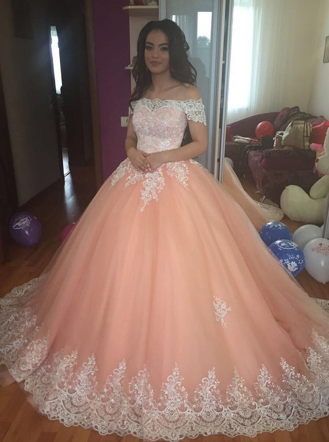 Peach Ball Gown Wedding Dress,Off the Shoulder Wedding Gown,Princess Wedding Gown,11145