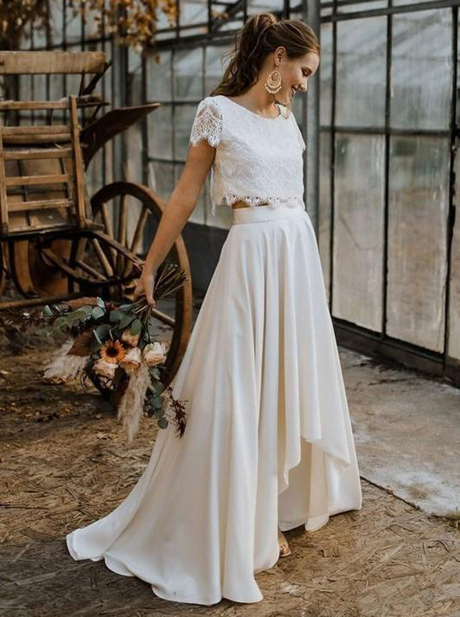 High Low Wedding Dress,Two Piece Bridal Dress,Casual Bridal Dress,11146