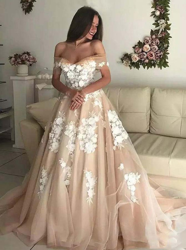 A-line Wedding Dresses,Chic Bridal Dress Off the Shoulder,Champagne Bridal Dress,11147 (11147)